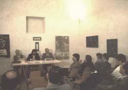 """Incontro al """"Quarto di Santa Giusta"""". Ing. Emilio Tomassi, Enrico Sconci, il Soprintendente Arch. Renzo Mancini"""