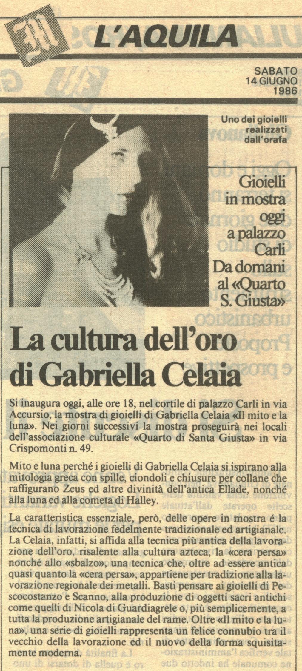 """Da """"Il Messaggero"""" Sabato 14 Giugno 1986"""