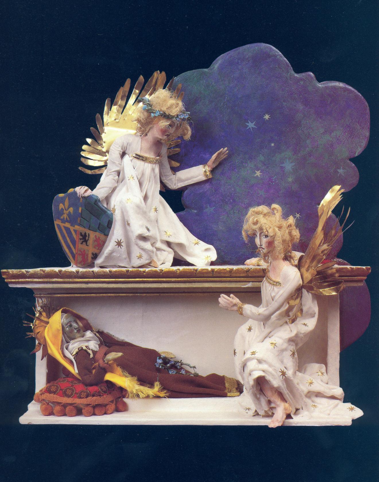Edicola di San Giorgio, 1987. Legno, creta, gesso, stoffa, cartapesta, ottone; cm 44x35