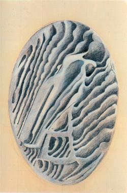 """Sandro Clerico """"Ogni notte Guardando la finestra"""", 1989, Carboncino e biacca su carta intelata, cm. 60x90"""