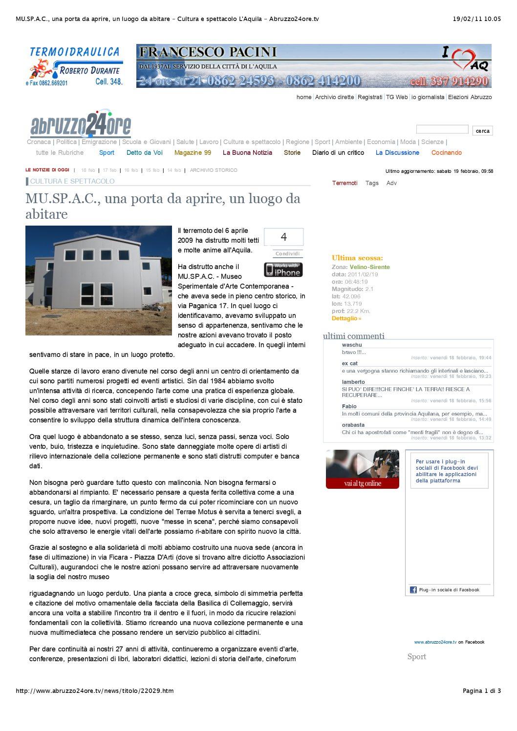 MU.SP.A.C., una porta da aprire, un luogo da abitare - Abruzzo24ore.tv (trascinato)