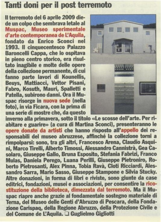 Articolo sul MUSPAC ne Il Giornale dell'Arte