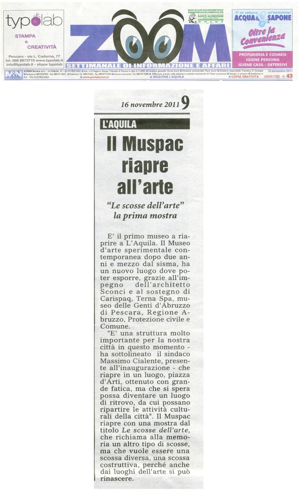 Articolo rivista zoom_16-11_2011