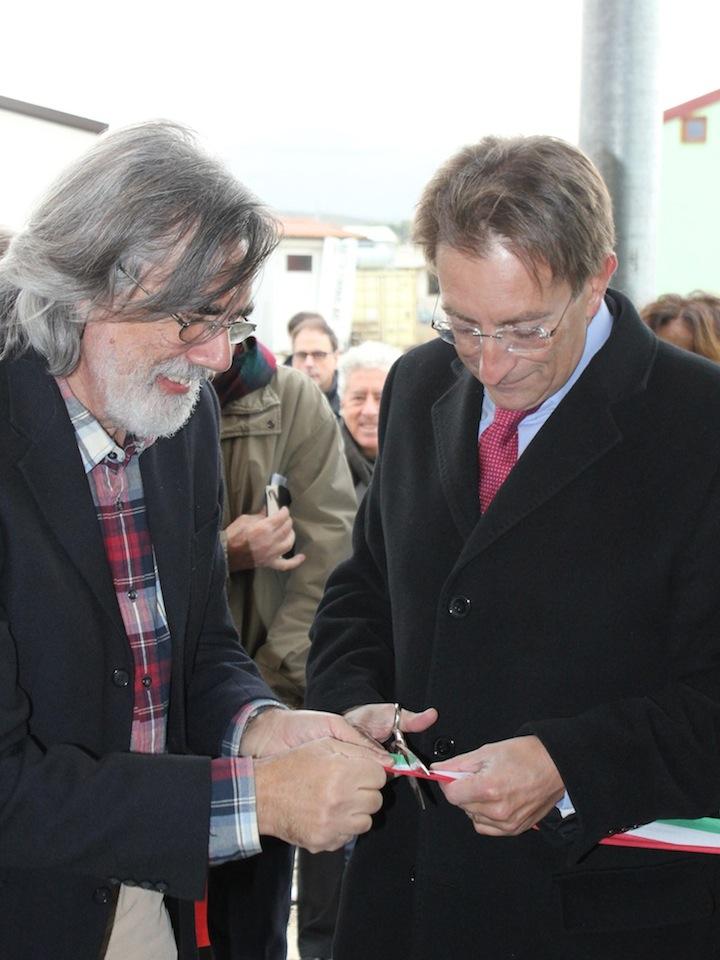 Inaugurazione della nuova sede del MUSPAC con Enrico Sconci e il Sindaco dell'Aquila Massimo Cialente