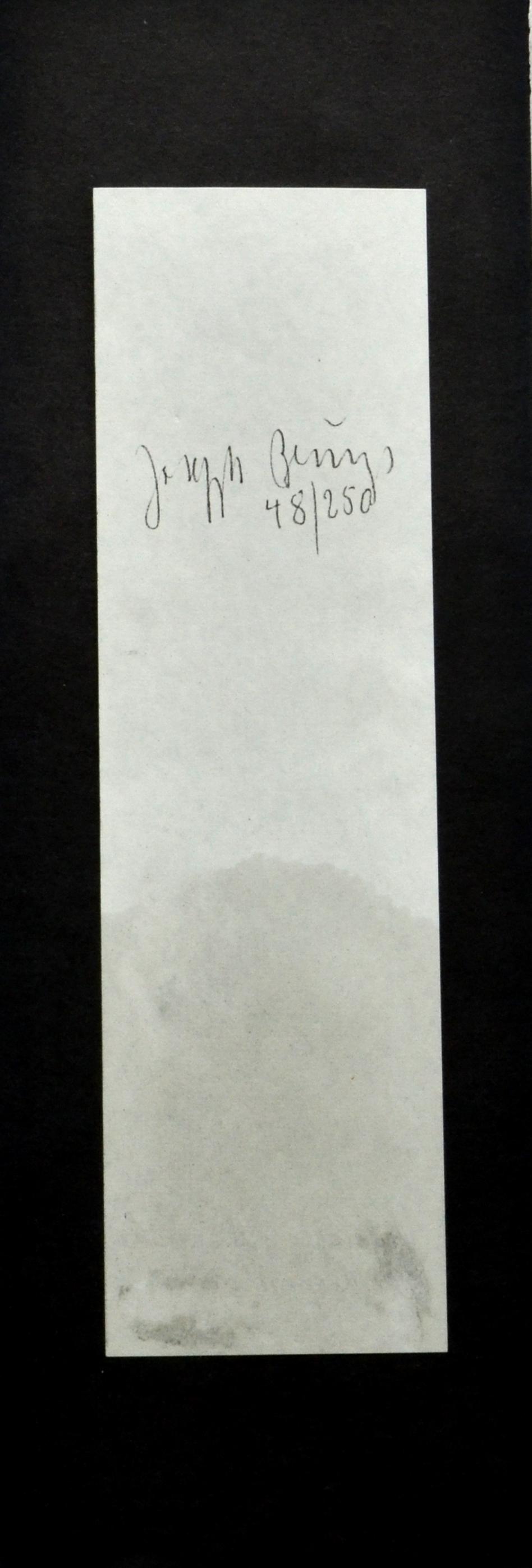 Joseph Beuys_Olivestone_carta assorbente stampata intinta nell'olio d'oliva 29,5x8,5_1984