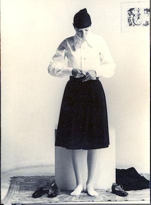 """Mauri Fabio, foto della performance """"Ideologia e natura"""", 1974, 366x13 cm"""