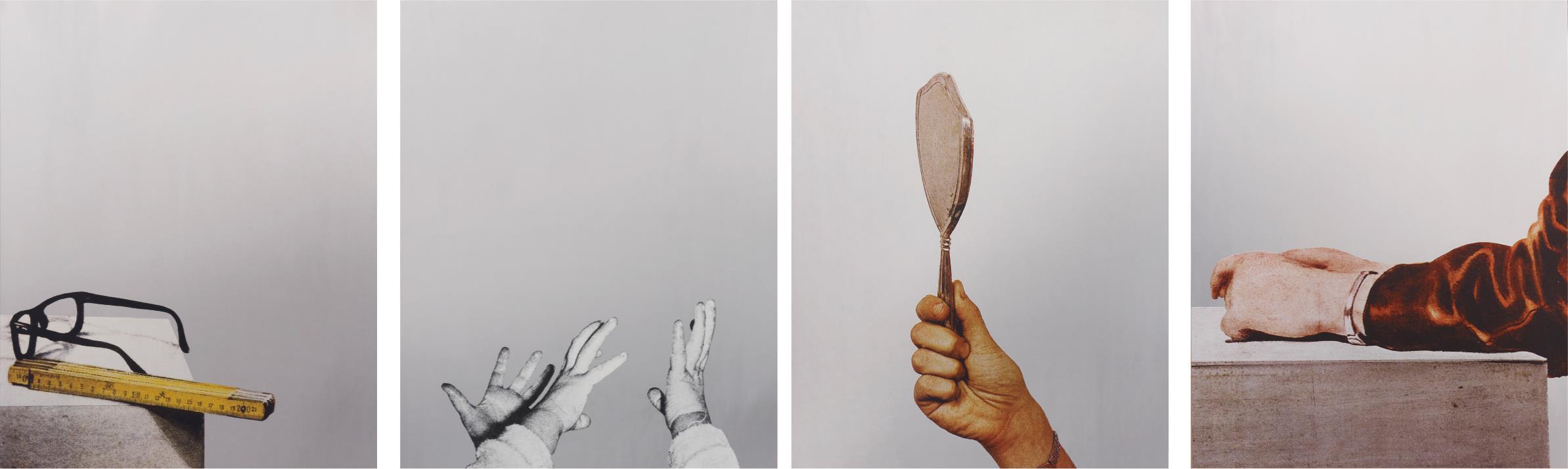 """Cartella di 4 tavole: I Michelangelo Pistoletto """"Gli occhiali e il metro""""; II """"Mani di Bimbo""""; III """"Mano con specchio""""; IV """"Il braccio"""". Tavole in fototipia 50x70 cm ogni foto."""