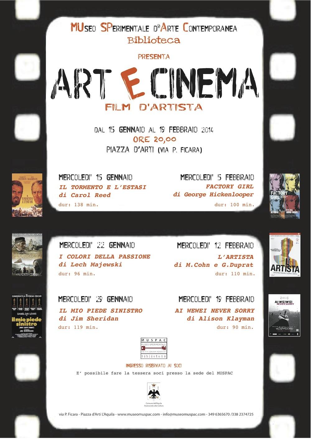 locandina ARTeCINEMA_FILM D'ARTISTA_gennaio-febbraio2014