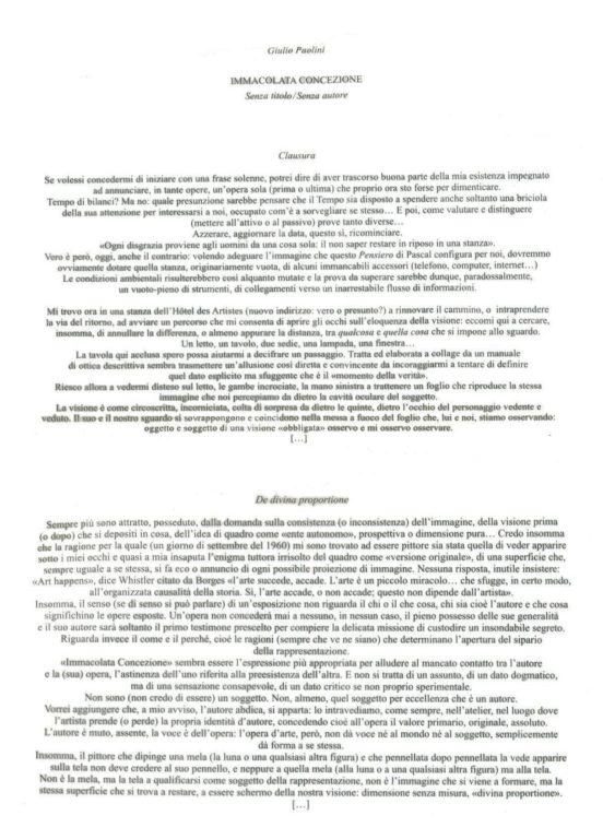 testo Giulio Paolini Immacolata Concezione