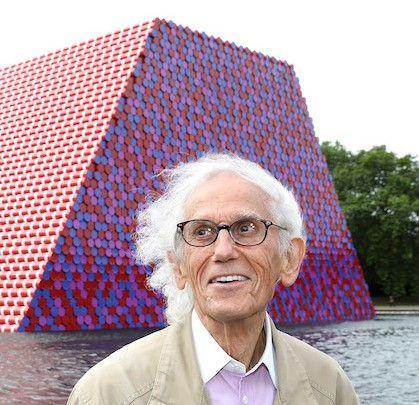 Artist Christo unveils his first UK outdoor work, a 20m high installation on Serpentine Lake, with accompanying exhibition at  at The Serpentine Gallery on June 18, 2018 in London, England.