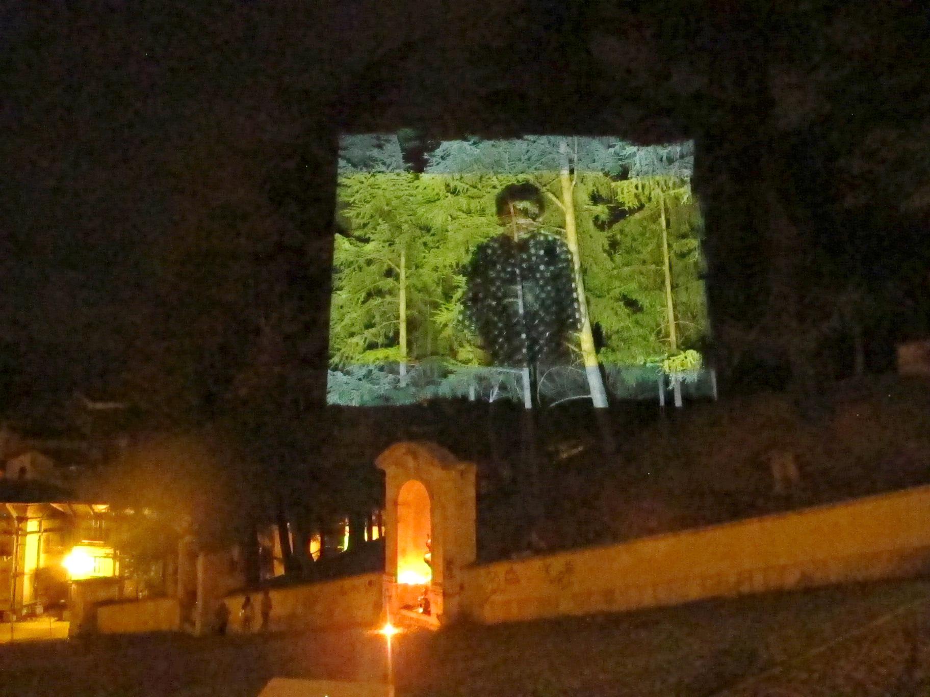 """Proiezione del film """"Sogni di Akira Kurosawa"""", sugli alberi della scalinata"""