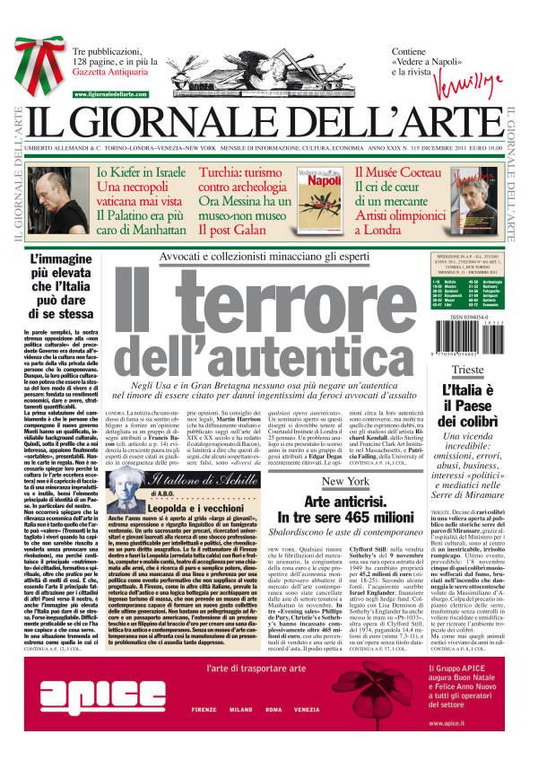 Copertina Il giornale dell'arte_dicembre 2011 n. 315