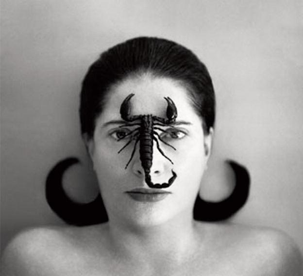 """Portrait with Scorpion (Open Eyes)"", Marina Abramovic, 2002, Silver gelatin print, 125 x 145 cm"